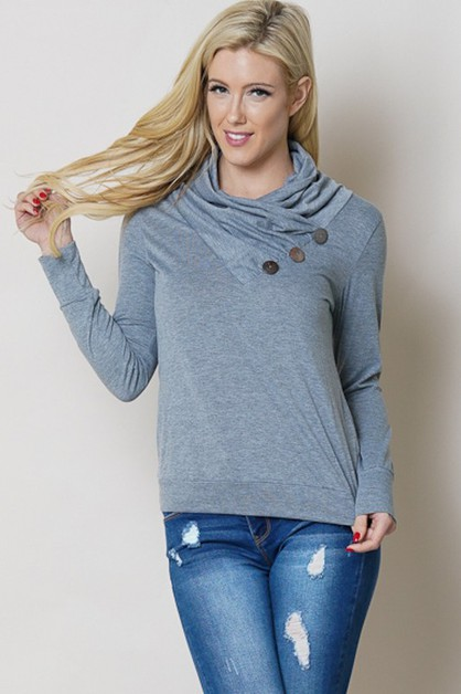 COWL NECK LONG SLEEVE BUTTON TOP - orangeshine.com