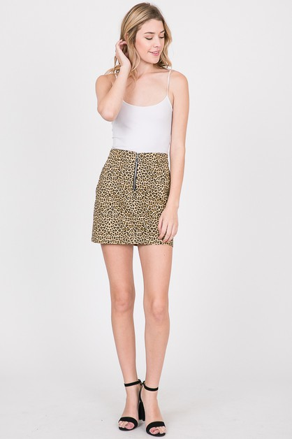ANIMAL PRINTED FRONT ZIPPER SKIRTS - orangeshine.com
