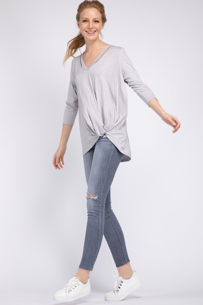 RAYON V NECK SIDE RUCHED TOP - orangeshine.com