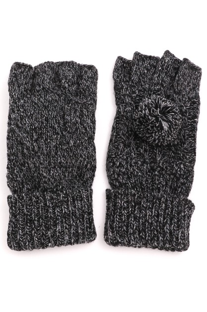 Knitted Pom Fingerless Gloves - orangeshine.com