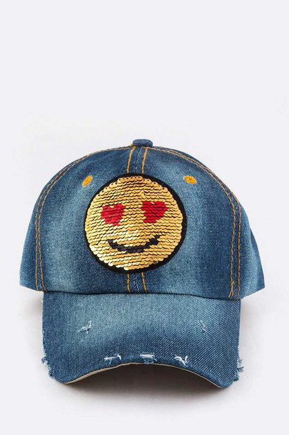 2 Tone Sequins Emoji Patch Cap - orangeshine.com