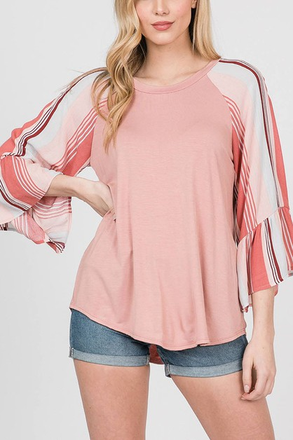 RUFFLE POINT RAGLAN SLEEVE TOP - orangeshine.com