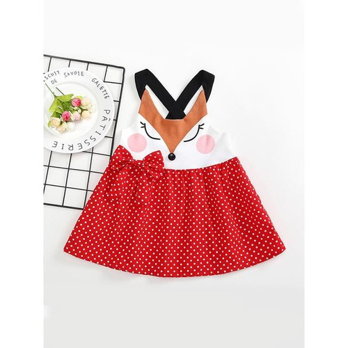 Fox pattern Starp Dress - orangeshine.com