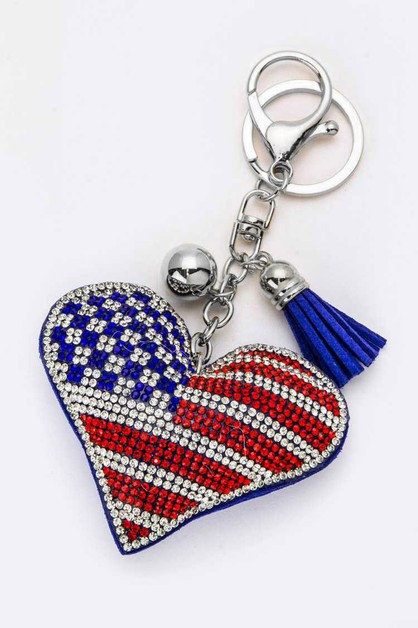 Crystal USA Flag Puff Keychain - orangeshine.com