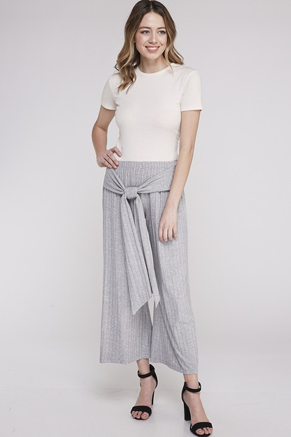 RIBBED TIE FRONT PANTS - orangeshine.com