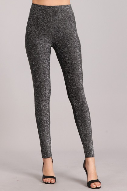 Metallic Textured Leggings - orangeshine.com