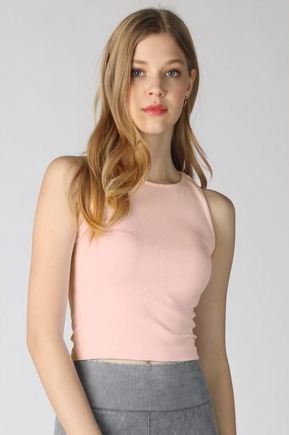 Ribbed Highneck Crop Top - orangeshine.com