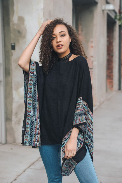 Geometric Embroidered Sleeve Kimono - orangeshine.com