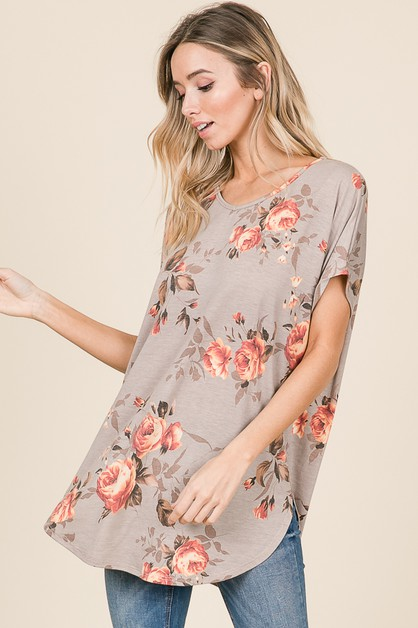 FLORAL TUNIC WITH ROUND HEMLINE - orangeshine.com