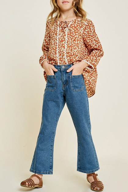 Bell Bottom Jeans With Pockets - orangeshine.com