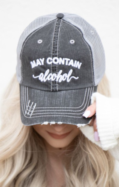 May Contain Alcohol Embroidered Hat - orangeshine.com