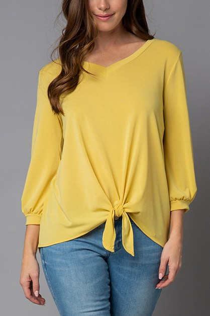 v-neck front self-tie TOP - orangeshine.com