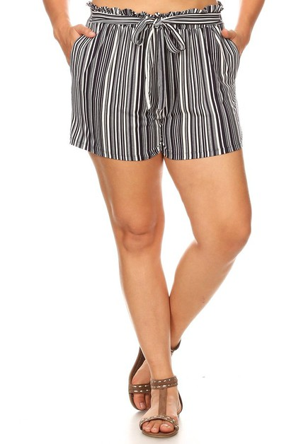 Soft Plus Size Shorts Boho Stripes - orangeshine.com