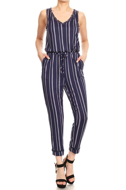 Back Overlap Stripes Jumpsuits Crop - orangeshine.com
