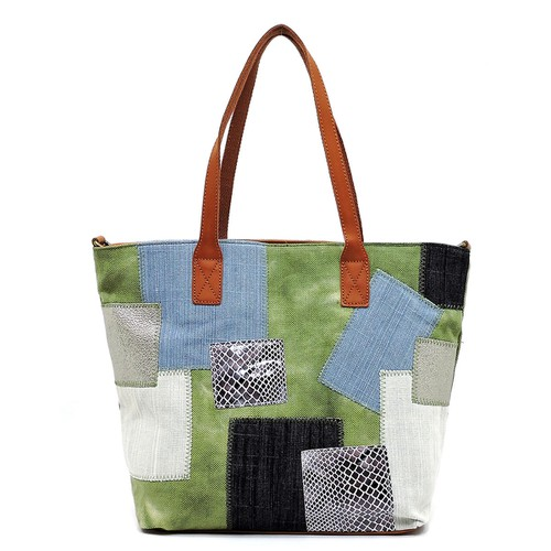 Denim Patchwork Tote - orangeshine.com