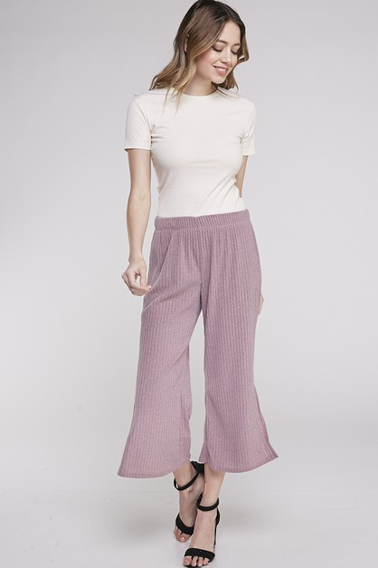 RIBBED SIDE SLIT PANTS - orangeshine.com