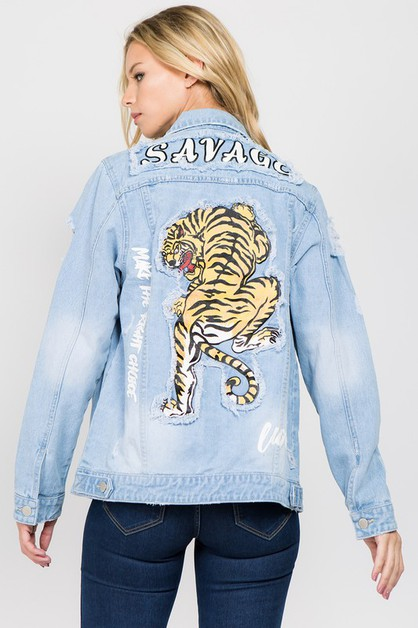 BACK TIGER DENIM JACKET - orangeshine.com
