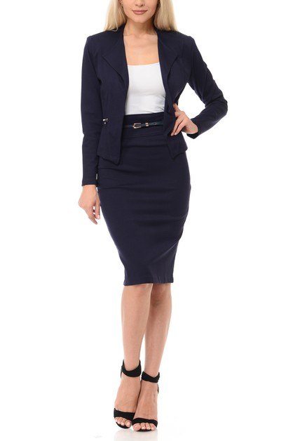Womens Wear to Work Solid Skirt Suit - orangeshine.com