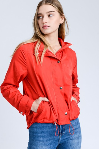 Windbreaker Jacket With Drawstring - orangeshine.com