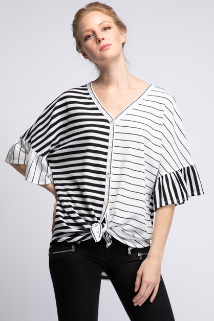 THERMAL STRIPE BUTTON DOWN RUFFLE - orangeshine.com