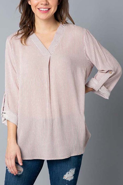 Pin striped v-neck blouse  - orangeshine.com