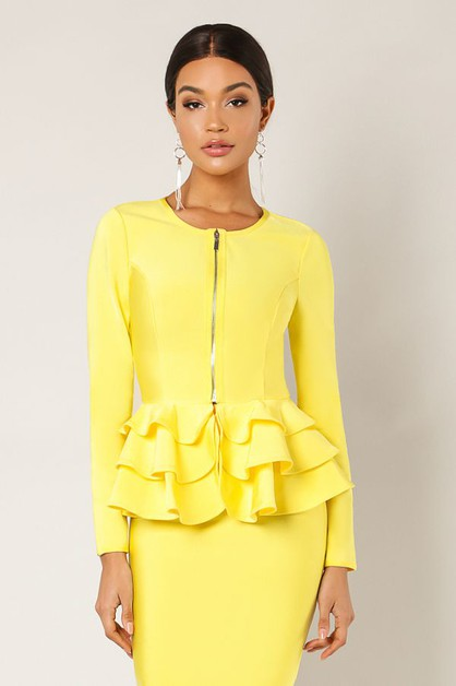 Peplum Front Zipper Jacket - orangeshine.com
