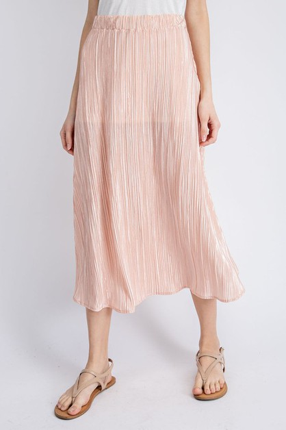 Pleated Flare Midi Skirt - orangeshine.com