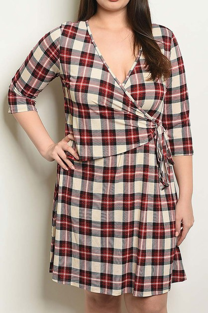 WAIST TIE DETAIL PLUS PLAID DRESS  - orangeshine.com