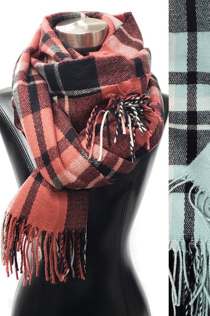 Plaid Tassel Long scarf - orangeshine.com