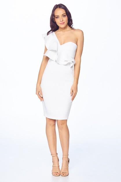 One Shoulder Midi Dress - orangeshine.com