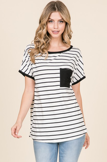 CASUAL CHEST POCKET STRIPE TOP - orangeshine.com