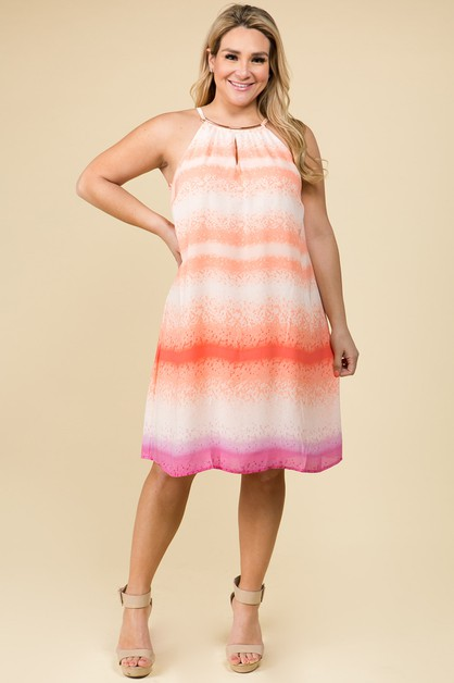 PLUS SIZE TIE-DYE CORAL PINK DRESS - orangeshine.com