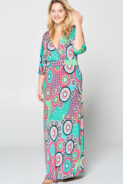 Geometric Maxi Dress - orangeshine.com