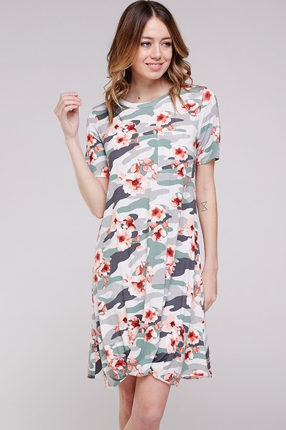 FLORAL CAMO TWISTED DRESS - orangeshine.com