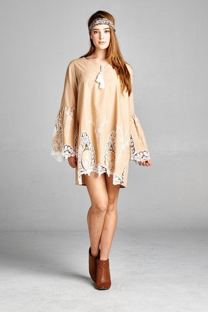 Embroidered Lace Tunic - orangeshine.com