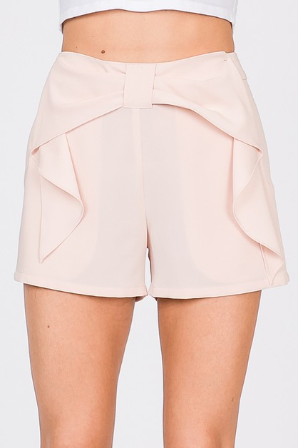 RUFFLED SOLID SHORT PANTS - orangeshine.com