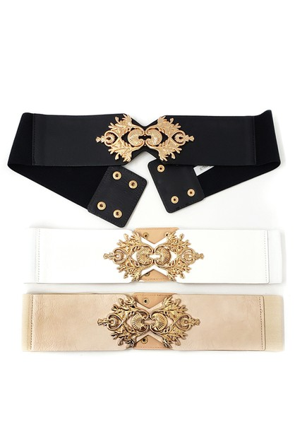 Gold Metal Buckle Elastic belt - orangeshine.com