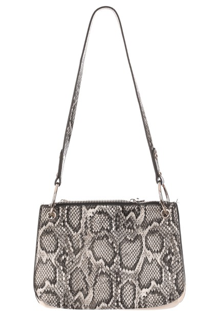 Triple Faux Alligator Print Bag - orangeshine.com