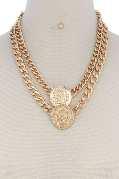 COIN MULTI LAYERED NECKLACE SET  - orangeshine.com