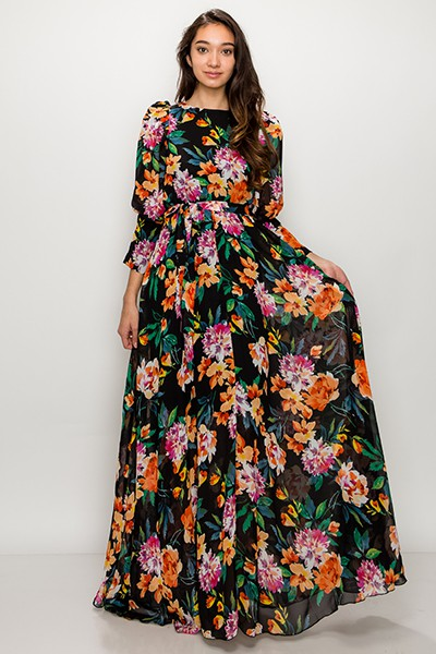 Floral on Black Puff Sleeve Maxi Dre - orangeshine.com
