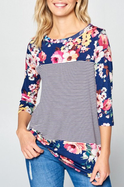 FLORAL AND PIN STRIPE MIXED TOP - orangeshine.com