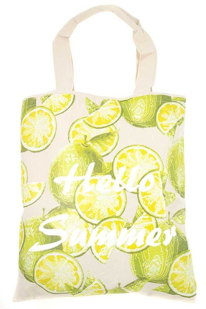 HELLO SUMMER LIME TOTE BAG - orangeshine.com