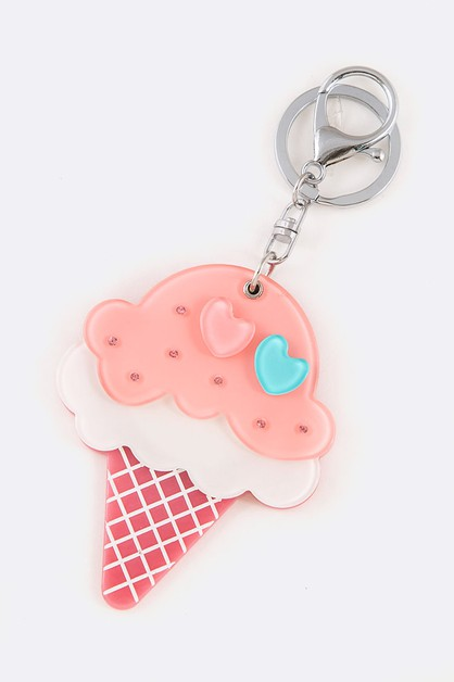 Crystal Ice Cream Mirror Key Chain - orangeshine.com