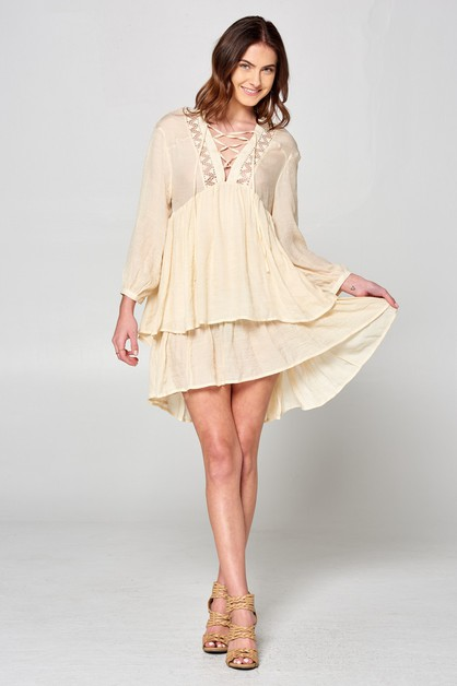 Ruffled Crotchet Dress - orangeshine.com