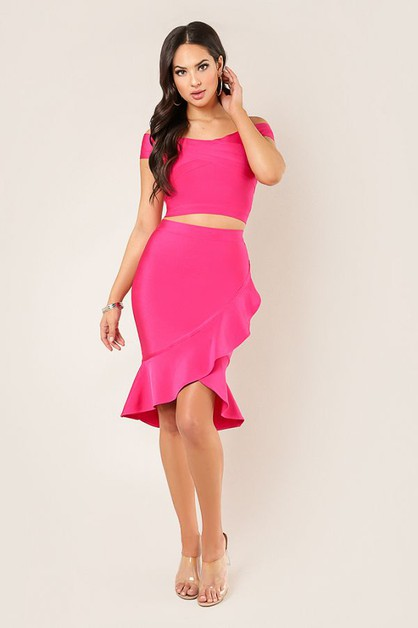 Twisted Ruffle Skirt - orangeshine.com