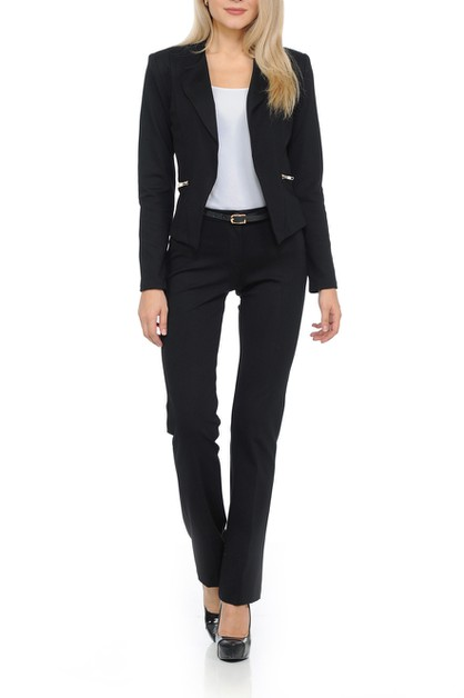Womens Wear to Work Solid Pants Suit - orangeshine.com