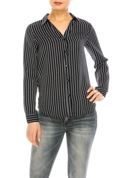 Striped Long Sleeve Buttoned Blouse - orangeshine.com
