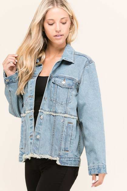 WASHED DENIM LOOSE FIT JACKET - orangeshine.com