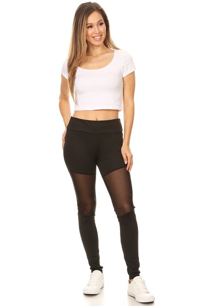 Yoga leggings with mesh details - orangeshine.com