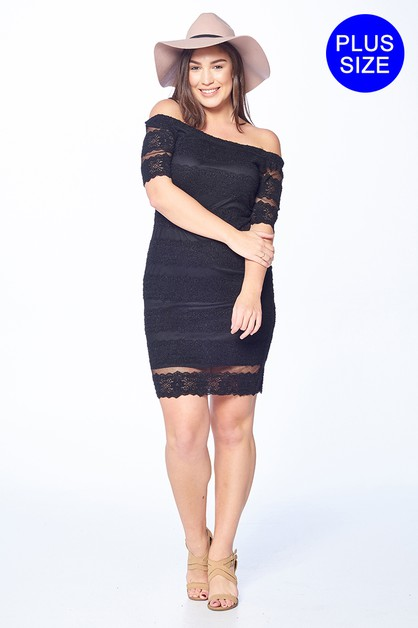 Off Shoulder Lace DRess - orangeshine.com